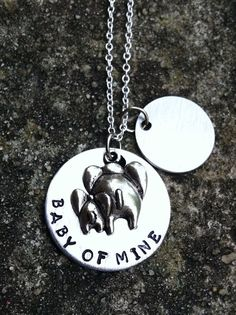 "Dumbo Inspired ""Baby Of Mine"" Hand-stamped necklace with name charm what a great push gift. Disney Necklace, Disney Jewelry, Push Gifts, Baby Dumbo, Daughter In Law Gifts, Baby Registry Items, Baby Mine, Hand Stamped Necklace, Elephant Love"
