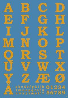 Blå og Orange Alfabet Plakat med Tal fra migogfar.dk