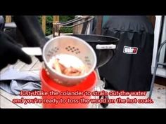 LifewithGrilling Tip -  Use a Colander for Soaking Wood - Here's a cool DIY tip for soaking your smoke wood.