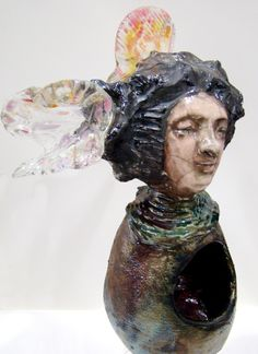 """ARTFINDER: Flora by Tonja  Sell - This one-of-a-kind sculpture is a part of my """"Smoke & Fire"""" sculpture series. She features blown glass and beaded elements. It is an ORIGINAL RAKU sculptur..."""