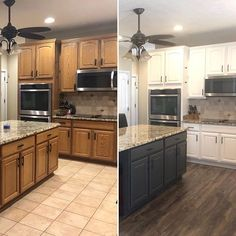 I wrapped up this beauty yesterday and couldn't wait to share it. New flooring really makes the cabinets pop, doesn't it? Cabinets are White Dove, island is Diy Kitchen Cabinets, Built In Cabinets, Painting Kitchen Cabinets, Kitchen Paint, New Kitchen, Kitchen Decor, Kitchen Design, Kitchen Ideas, Off White Cabinets