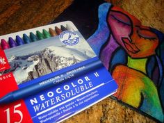 Great tutorial by Dion Dior on Julie Balzer's blog about using Caran d'Ache Neocolor II crayons (love those things!)