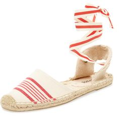 Soludos Women's Classic Stripe Lace-Up Espadrille Sandal - Red, Size 5 ($39) ❤ liked on Polyvore featuring shoes, sandals, red, soludos espadrilles, wrap around sandals, lace up espadrilles, ankle wrap sandals and braided sandals