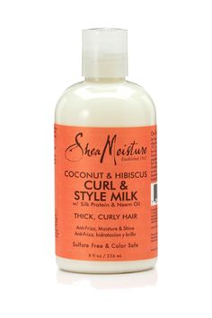 SheaMoisture's Coconut & Hibiscus Curl & Style Milk for thick, curly hair detangles, conditions and controls curls while restoring body and shine
