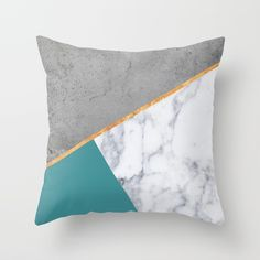 Marble Blush Gold gray Geometric Throw Pillow by xiari - Cover x with pillow insert - Indoor Pillow Teal Bedroom Decor, Grey And Gold Bedroom, Romantic Bedroom Decor, Teal And Gold, Bedroom Ideas, Geometric Throws, Geometric Pillow, Gold Pillows, Throw Pillows