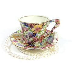 Demitasse Cup, Chintz Demitasse Set, James Kent DuBarry Pattern,... ($45) ❤ liked on Polyvore featuring home, kitchen & dining, drinkware, floral tea cups, espresso cups and saucers, espresso cups and dubarry