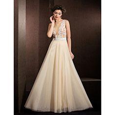 A-line Jewel Floor-length Tulle Wedding Dress (1798921) – USD $ 179.99