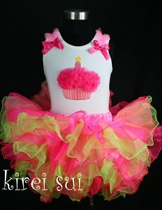 cupcake birthday outfit | Hot Pink Green Full Tutu Cupcake Birthday Outfit 1 7Y | eBay