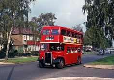 AEC Regent RLH leaving North Harrow for Rayners Lane along Imperial Drive October 1968 Richard Branson, Volkswagen Bus, Volkswagen Beetles, Vw Camper, Rt Bus, Bus Art, Transportation Technology, Routemaster, Buses And Trains