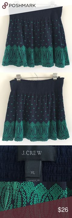 """J. Crew Embroidered Gauze Eyelet Mini Skirt A light & flirty miniskirt in navy with green eyelet detail.  Features elastic waistband for slip-on comfort.  Perfect for summer 😎  Stats (laying flat): Length: approx. 16.5"""" 