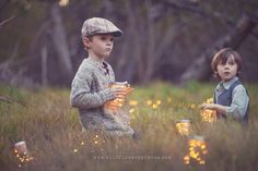 """Great photo for boys: Love the hat and jars """"of lighting bugs""""  How sweet"""