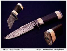 Damascus Hunter. Fossilized Walrus ivory and Bog oak handle.