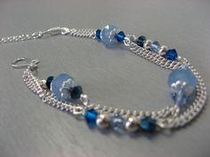 Bracelet fin Julie bleu, cristal Swarovski et plaqué argent : Bracelet par les-bijoux-d-anso