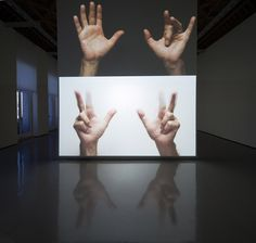 Bruce Nauman, For Beginners (all the combinations of the thumb and fingers), 2010 — HD video installation (color, stereo sound), continuous play,2 HD video sources, 2 HD video projectors, 4 speakers,dimensions variable)