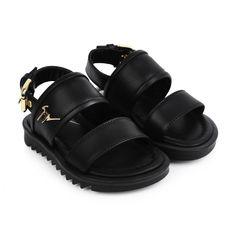 Giuseppe Black Leather Birel Vague Sandals