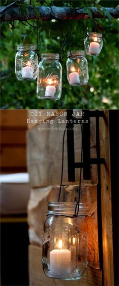 Easiest DIY Hanging Mason Jar Lights