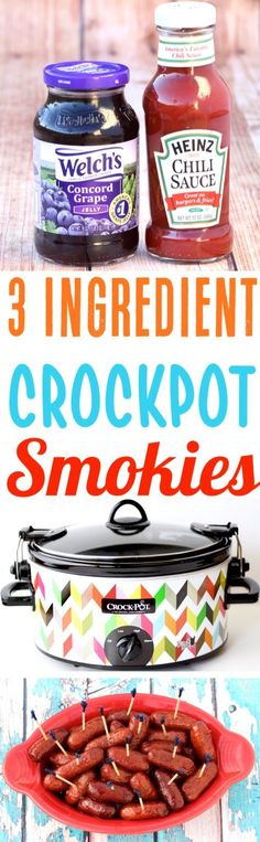 Crockpot Smokies Recipe with Grape Jelly! Just 3 ingredients and you've got the BEST cocktail lil smokies that everyone goes crazy for! Make them for your next party or game day!