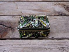 Vintage Leaf Enamel Basket Open Weave,  Rhinestones Rectangle Trinket Box, Jewelry Box by TiesofMyFather on Etsy