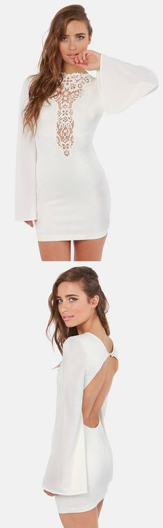 Plunging Backless Ivory Dress