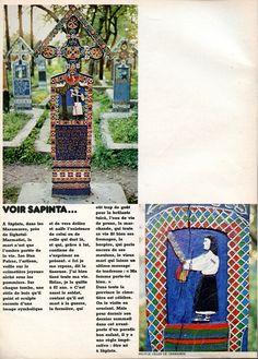 """N° 17 - mars 1975 - article """"Album de voyage en Roumanie"""" - Reportage Gilles de Chabaneix - réalisation Marion Faver - le cimetière de Sàpînta."""