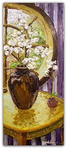 "White Orchids 47"" x 20"" Palette Knife Oil"