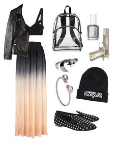 """I lost myself completely"" by v4ndaleyes ❤ liked on Polyvore featuring Coco's Fortune, Alice by Temperley, Essie, Giuseppe Zanotti, OBEY Clothing, Alexander McQueen, 80s fashion, tie-dye, faux-leather jackets and dip dye"