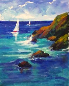 Coastal Sailing: Sailboats and blue green water portray high tide against the rocky shore. (I)  #gingercooklive #art