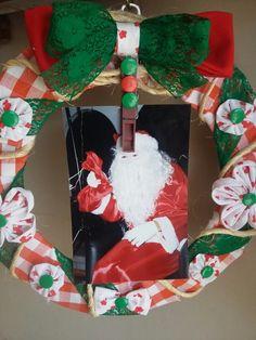Guirlanda com foto. Coloque uma foto de Natal da sua família.