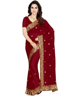 Buy latest sarees collection of designer wedding sarees for womens. Order this beauteous embroidered and patch border work classic designer saree.