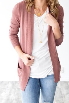 nice and casual. i like the rose color... and the necklace really spruces the outfit up