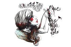 Paula Bonet // pauline on the leach Paula Bonet, Just Girl Things, Girl Face, Face And Body, Wall Murals, Illustrators, Illustration Art, Cartoon, Black And White