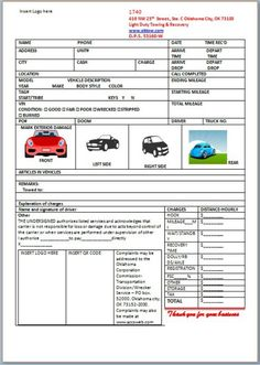 Towing Bill Template  Towing Service Invoice Template