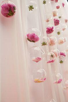 Hanging glass flower jars