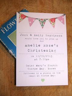 summer fayre christening invitation by a bird & a bee   notonthehighstreet.com