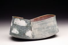 Missy McCormick. Rectangular Wrapped Bowl Server, Hand built earthenware, Fumed Terra sigillata, 3 x 6 x 4 . $86/SOLD OUT