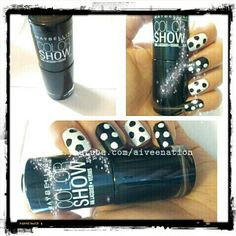 diy polka dot nails #NailOftheDay using @MaybellineCan #colorshow in Black Onyx