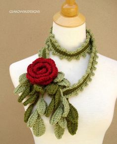 Wild Rose Scarf- Lariat-Red.