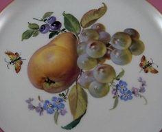 Rare Antique 19thC Meissen Porcelain Pink Rim Fruit Scene Plate Porzellan Teller