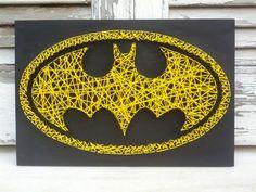Handmade String Art Batman Sign