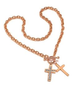 This Simulated Diamond & Rose Gold Double Cross Necklace is perfect! #zulilyfinds