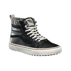 Vans Sk8-Hi MTE ($90) ❤ liked on Polyvore featuring shoes, sneakers, black high top shoes, grip trainer, vans sneakers, black sneakers and black hi top sneakers