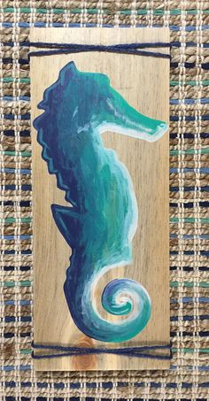 Seahorse painting on pallet wood with twine by CortneyLeiDesign