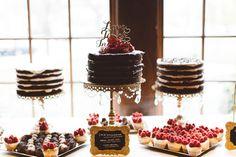 A dessert table at a wedding