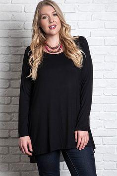 women's plus size black long sleeve hi-lo not so basic knit top #plussizetops #plussizefashion