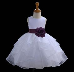 WHITE Organza Beautiful and puffy flower girl dress more than 20 sash and flower colors bridemaid pageant wedding elegant girl 018A