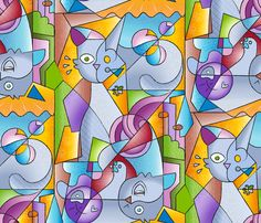 Cubist Cats: The Mininos fabric by mia_valdez on Spoonflower - custom fabric