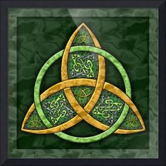 """""""Celtic+Trinity+Knot""""+by+Kristen+Fox,+New+York+//+A+gorgeous+Celtic+trinity+knot+done+in+greens+and+golds,+and+accented+in+additional+Celtic+knotwork+art.++A+classic+symbol+of+unity+and+interconnectedness!+//+Imagekind.com+--+Buy+stunning+fine+art+prints,+framed+prints+and+canvas+prints+directly+from+independent+working+artists+and+photographers."""