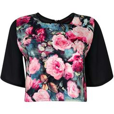 Boohoo Yasmin Floral Scuba Woven Zip Back Shell Top ($10) ❤ liked on Polyvore featuring tops, shirts, crop tops, t-shirts, polyester shirt, floral print tops, shirt top, flower print shirt and crop shirt