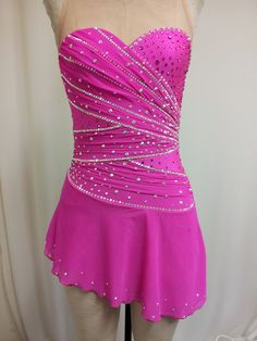 Fuchsia gathered Bodice Skating Dress