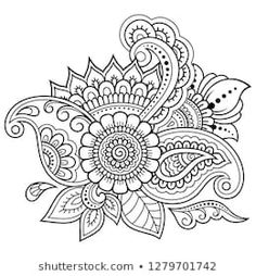 Mehndi flower pattern for Henna drawing and tattoo. Decoration in ethnic oriental, Indian style. Flower Coloring Pages, Mandala Coloring Pages, Coloring Book Pages, Mandala Art Lesson, Mandala Drawing, Doodle Patterns, Flower Patterns, Mehndi Flower, Henna Drawings